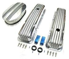 "58-86 Chevy Polished Aluminum Finned Valve Covers & 12"" Air Cleaner Kit SBC 350"