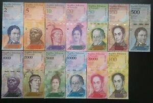 Venezuela Bolivare Fuerte Currency set 2008-17 (13 Pieces, 1 note of each) UNC