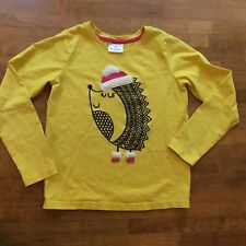 Hanna Andersson Girls Hedgehog Graphic Appliqué Yellow Top Shirt Sz 140 10