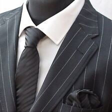 Tie Neck tie with Handkerchief Black with Stripe