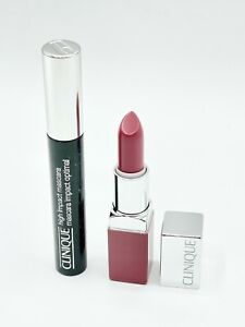 Clinique High Impact Mascara In Black And Pop Lipcolour And Primer In Plum Pop