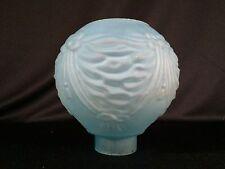"Antique Unique Blue Glass Oil Lamp Hurricane Shade 2"" Fitter Hot Air Balloon"