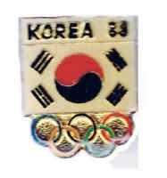 1988 SEOUL XXIVth  SUMMER OLYMPIAD  KOREA FLAG RINGS PIN