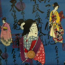 Kona Bay Geisha Collectables GEIS-05 Blue Oriental 100% Cotton Fat Quarter