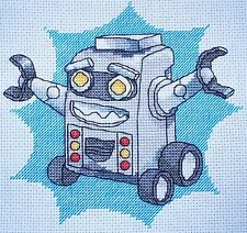 KL68 Robot Counted Cross Stitch Kit Par Vanessa puits de goldleaf Needlework
