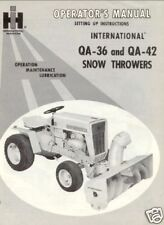 IH Cub Cadet Snow Thrower QA-36 QA-42 Operator Manual