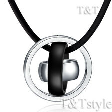 T&T Two-Tone Black Stainless Steel Three Lucky Ring Pendant Necklace (NP101D)