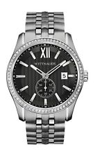 Wittnauer Men's Quartz Crystal Accents Black Dial Silver-Tone 43mm Watch WN3031
