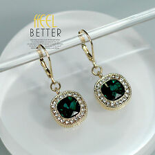 Earring Gold Green Emerald Crystal Strass Square Pendant Vintage Wedding YW3