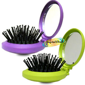Denman D7 Compact Portable Travel Size Folding Hair Brush With Vanity Mirror