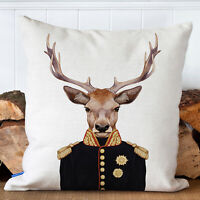 STAG in Uniform Cushion Cover Artwork Watercolour Military Home Gift FDC40