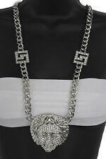 Women Fashion Long Necklace Silver Metal Chains Medusa Goddess Beads Head Charm