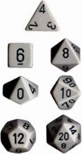 Chessex Dice Polyhedral 7 Die Set - Opaque Grey / Black - DND / Roleplay etc
