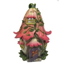 PINK FAERY COTTAGE WITH LED LIGHTS Mini Fairy Garden Home Faerie Miniature House