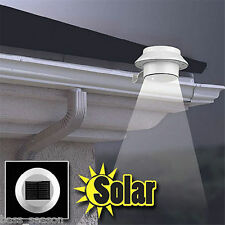 3 LED Solar Powered Outdoor Garden Yard Wall Fence Pathway Lamp Gutter Light