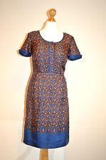 HOBBS LONDON NW3 CUTE  ORANGE& BLUE PAISLEY SILK BOHO TUNIC TEA DRESS UK 8 VGC