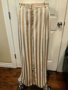 "The Row ""Sala"" Gold & Beige Striped Dress Pants, Size 4, NWT! $1,350"