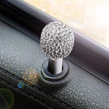 2x Bling Rhinestone Car Lock Interior Modified Door Pin Knob Universal White