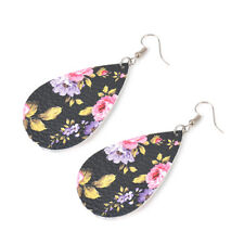 2018 New Fashion Bohemian Spring Printed Rose Floral Leather Teardrop Earrings