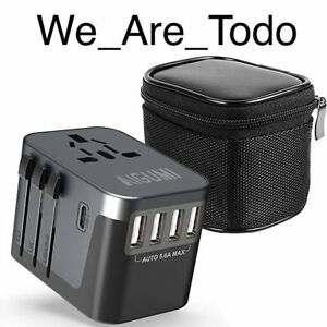 AIGUMI - Grey Worldwide Travel Adapter, 4 USB Ports with 5.6A High Speed Charger