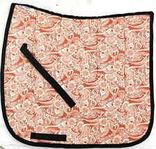"INTERESTING ""ORANGE WHITE FLORAL"" DESIGN DRESSAGE SADDLE PAD UNIQUE"