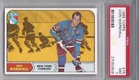 1968 Topps vintage hockey card #75 Don Marshall, New York Rangers PSA 7