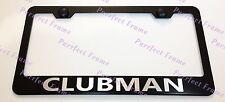 Mini Cooper CLUBMAN Laser Style Black Stainless Steel License Plate Frame W/Caps