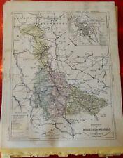 Old Map 1900 France Département Meurthe et Moselle Nancy Briey Luneville Blamont