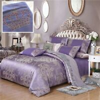 KING SIZE 5' LUXURY (4 Piece) DUVET COVER SILK BEDDING SET (CROWN) PURPLE LILAC
