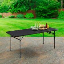 Folding Table Camping Portable Picnic Outdoor Indoor Plastic Bi-Fold 6ft Black