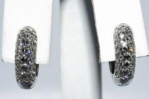 $2,200 1.25CT NATURAL ROUND CUT DIAMOND CLUSTER PETITE HUGGIE HOOP EARRINGS 14K