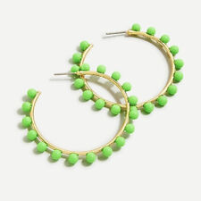Out! New$29.50 Vivid Lime Authentic J.Crew Beaded Hoop Earrings! Sold