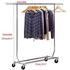 Heavy Duty Clothing Garment Rack Rolling Closet Hanger Shelf Stand 41.7 x 21.5''