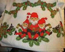 Swedish Vintage Christmas Table Cloth Sweden Tomte Nisse Gnome Elf New Old Stock