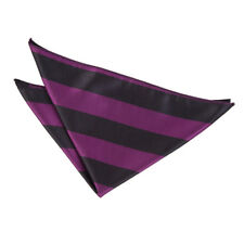 DQT Woven Striped Black & Purple Formal Handkerchief Hanky Pocket Square