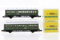 N Minitrix 2x 3058 Abteilwagen 2./3. Klasse Personenwagen Konvolut coach+OVP/I73
