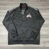NIKE AIR JORDAN JUMPMAN ZIP UP MENS TRACK JACKET BLACK SIZE LARGE CK2180-010
