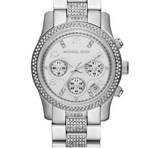 Michael Kors Runway MK5825 Silver Stainless Crystal Glitz Chronograph Luxe Watch