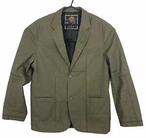 Marc Ecko Cut & Sew Mens Khaki 100% Cotton 2 Button 1 Vent Lined Jacket Size XXL