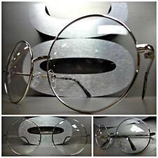 Herren Damen Übergröße Vintage Durchsichtige Linse Brillen Rund Schwarz Mode