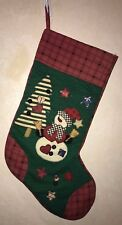 LARGE CHRISTMAS STOCKING snowman TREE BUTTONS STARS RED BLACK 20 INCH BOY GIRL