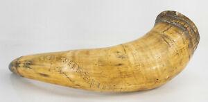 Antique Nautical Themed Scrimshaw Bovine Cow Horn Powder Horn Mermaid