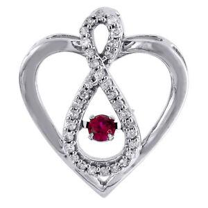 Diamond Heart Pendant Dancing Created Ruby White Gold Infinity 0.30 CT.