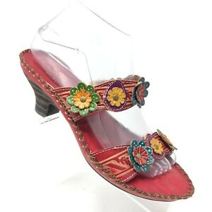 Spring Step Red Leather Floral Slide Sandal Ambrosiada Womens SIZE 38 / 7.5 - 8