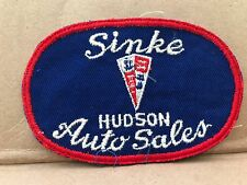 "VINTAGE 1950/60'S EMBROIDERED HUDSON SINKE AUTO SALES JACKET PATCH  4.5"" X 3"""