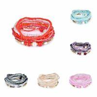 Bohemian Glass Crystal Beads Multilayer Bracelet Bangle Beach Jewelry Charm DIY