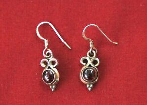 Silver and Garnet drop earrings pre owned