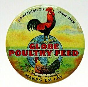 "circa 1900 GLOBE POULTRY FEED 1.25"" pinback button FARMING ^"
