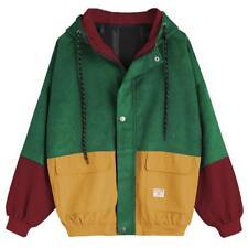 Women's Corduroy Patchwork Zipper Jacket Fall Winter Windbreaker Coat Overcoat