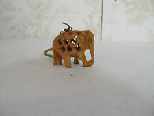 """Wooden Elephant Keychain Hand Carved Made in India 1 1/2"""" x 1 1/4"""""""